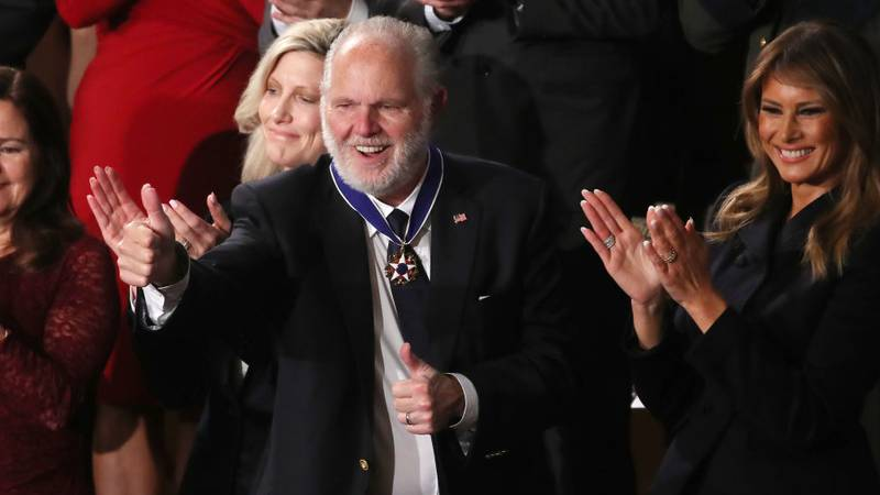 FILE PHOTO: Radio personality Rush Limbaugh reacts after First Lady Melania Trump gives him the Presidential Medal of Freedom during the State of the Union address in the chamber of the U.S. House of Representatives on February 04, 2020 in Washington, DC. Limbaugh was 70 years old.